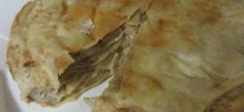 Блинный пирог с курицей и грибами